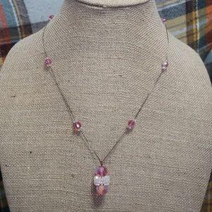 Jewelry - Vintage pink aurora borealis crystal necklace